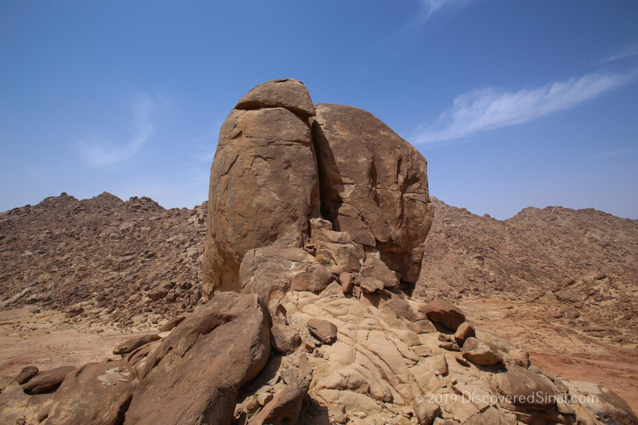 The split Rock of Horeb in Rephidim