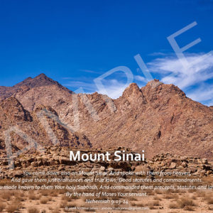 Mount Sinai in Arabia with Bible verse.