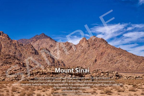 Mount Sinai in Arabia with Bible verse.