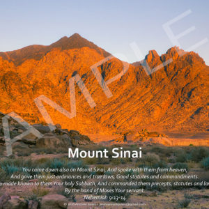 Sunrise at Mount Sinai in Arabia with Bible verse.