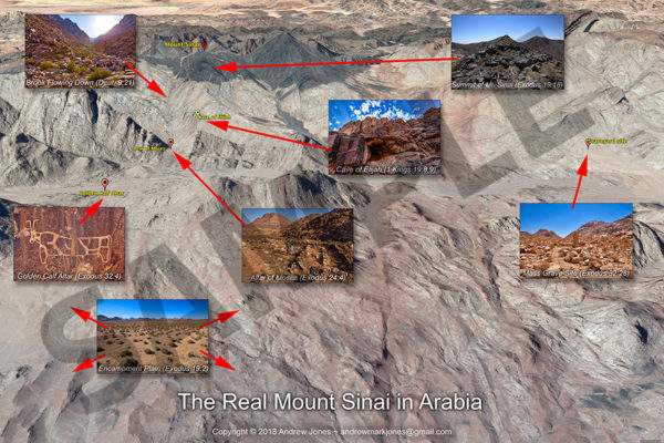 Satellite map overview of sites around Mount Sinai in Arabia.
