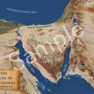 New Ron Wyatt exodus route map from Egypt to Nuweiba Red Sea crossing to Mount Sinai in Arabia at Jabal al-Lawz poster!