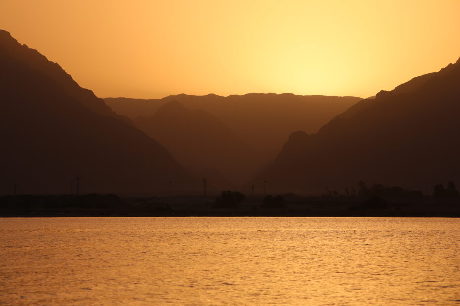 Sunset at Wadi Watir at the real Red Sea crossing, Nuweiba, Egypt